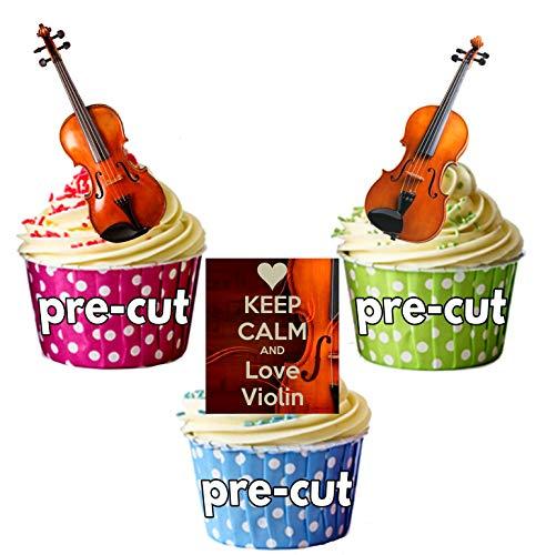 Keep Calm and Love Violine, Violine Mix–essbar Stand-up Cupcake Topper (Pack von 12)