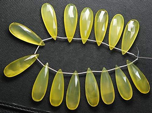 LKBeads 4 Streichhölzer, Mangogelb, Chalceny, facettiert, Birnenform, 35 mm, groß, Code-HIGH-57138