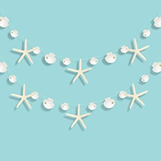 Paper White Finger Starfish and Sea Shell Garland Kit for Ocean Coastal Nautical Party Decoration Starfish Cutouts Hanging...