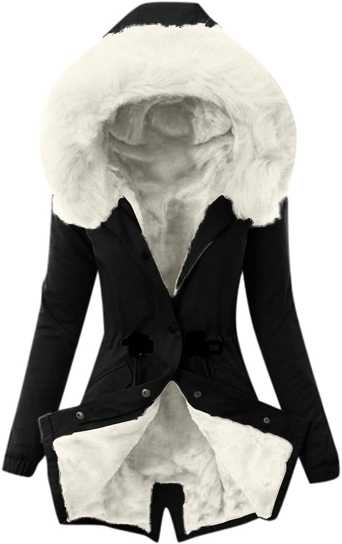 Aritone Clearance!! Coat Jacket Ladies Lining Coat Womens Winter Warm Thick Long Jacket Hooded Overcoat