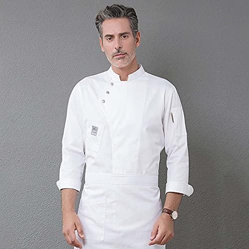 AMEA Manga Larga Chef Chaquetas Hombres Mujeres Cocina Restaurante Chef Abrigo Blanco Chef chet Mujer Mangas largas Camarera Uniforme Abrigo Chef,Blanco,4XL