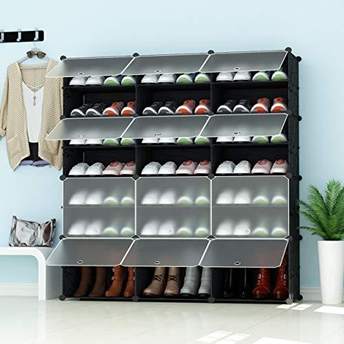 PREMAG Portable Schuhablage Organizer Tower, Schwarz mit Transparenten Türen, Modular Cabinet Regale für platzsparende, Schuhregal Regale für Schuhe, Stiefel, Hausschuhe 3 * 5