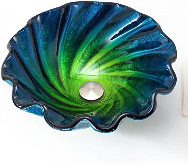 FANGYAO Gehrtetes Glas-Becken Ocean Blau Shell Farbe Kunst Waschbecken über Zhler Becken (450  150  19 mm) , single basin