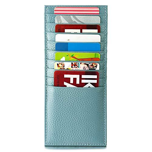 Grigio Blu Pelle Portafoglio Doppia Faccia Sottile Porta Carte Credito Tasche Pelle 18 Tasche per Carte