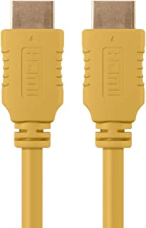 Monoprice HDMI High Speed Cable - 1.5 Feet - Yellow, 4K@60Hz, HDR, 18Gbps, YUV 4:4:4, 28AWG - Select Series