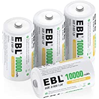 4-Count EBL D Cell 10000mAh Huge Capacity Ni-MH Rechargeable Batteries