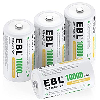 EBL D Size Battery D Cell 10000mAh Huge Capacity Ni-MH Rechargeable D Batteries with Storage Box 4 Counts