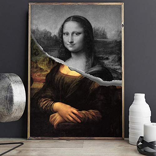 Geiqianjiumai Sonrisa Diosa Creativo Coser Arte Imagen Cartel y Sala Mural Pintura Lienzo Mural sin Marco Pintura 60X90cm