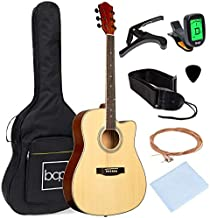 Best Choice Products 41in Full Size Beginner All Wood Acoustic Guitar Starter Set with Case, Strap, Capo, Strings, Picks, Tuner - Natural