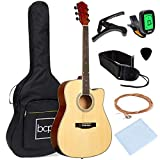 Best Choice Products 41in Full Size Beginner All Wood Acoustic Guitar Starter Set with Case, Strap, Capo, Strings,...