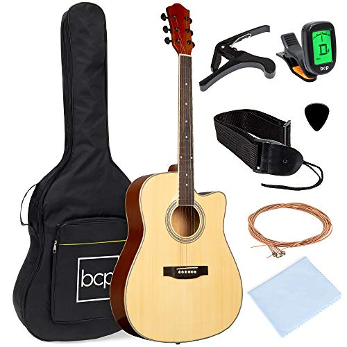 Best Choice Products 41in Beginner Acoustic Guitar Full Size All Wood Cutaway Guitar Starter Set Bundle with Case, Strap, Capo, Strings, Picks, Tuner - Natural