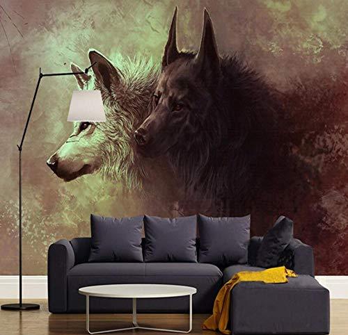 3D vliesbehang 3D poster fotobehang wolf dotem wild wandschilderij modern woonkamer studie slaapkamer achtergrond foto behangbaan 300*210 300 x 210 cm.