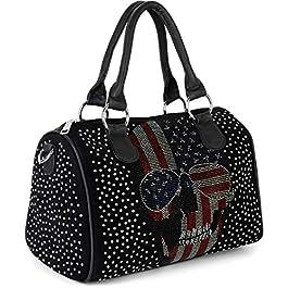 styleBREAKER Sac de bowling pour femmes avec application USA Skull Rhinestone, sac à bandoulière, sac à main 02012315