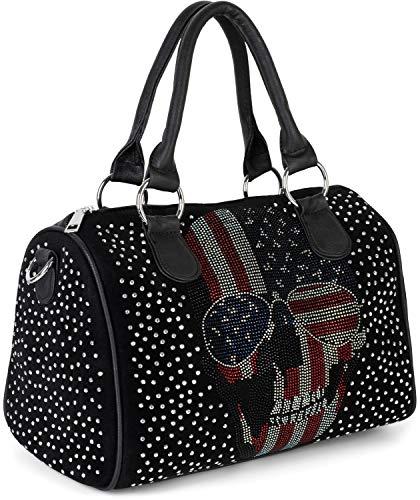 styleBREAKER Damen Bowling Bag mit Strassnieten und USA Totenkopf Strass Applikation, Umhängetasche, Handtasche 02012315, Farbe:Schwarz