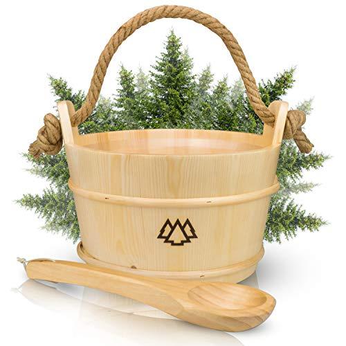 NORDHOLZ® Sauna Eimer mit Kelle aus 100% nordischer Fichte - Hochwertiges Sauna Zubehör - Einsatz, Hanftrageseil & Gratis E-Book - Wellness Aufguss Komplett Paket - Saunaeimer Set