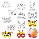 Máscara Blanca para Pintar,Xiuyer 12 Piezas Máscaras Animales en Cartulina Blanco para Colorear Niños Masks con Cuerdas Elásticas y 50 Plumas de Colores para DIY Decorar Fiesta Cumpleaños Regalo