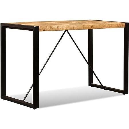 vidaXL Table de Salle à Manger Bois de Manguier Massif 120 cm Cuisine Maison