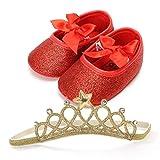 Fossen Recién Nacido Bebe Niñas Zapatos de Brillante Y Diadema (0-6...