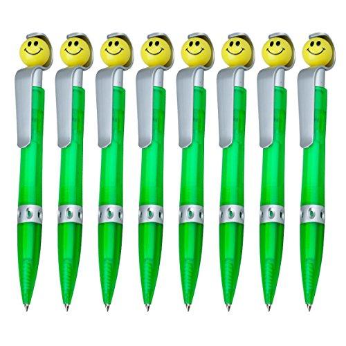 WPRO Kugelschreiber Sunny 8 Stück   Mitgebsel Gastgeschenk für Kindergeburtstage  Jungen & Mädchen  Kugelschreibmine Blau- mit Smiley -Kugelschreiber- Kulli Stift Mitgebsel   grün