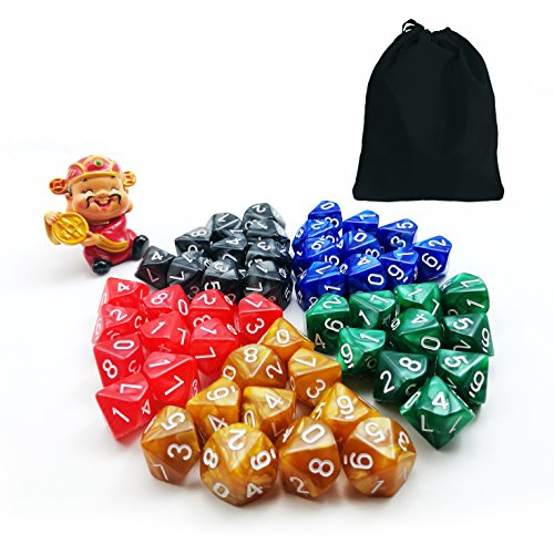 50pcs Assorted D10 Pack, 5X10pcs 10 Sides Dice Marble Polyhedral Dice D10 Set