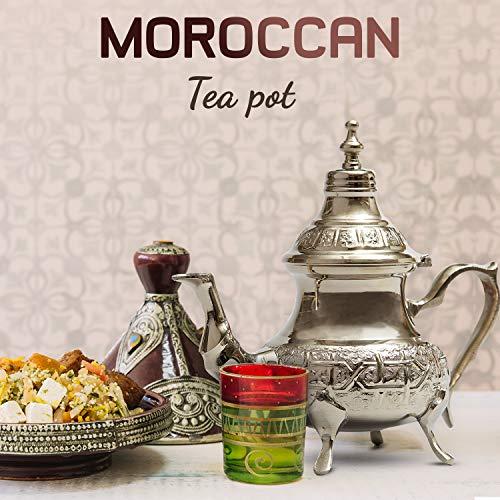 Tetera de plata marroquí Maghrebi by Sheineen, hecha a mano, auténtica tetera tradicional marroquí grabada, acero inoxidable, Plateado, 5