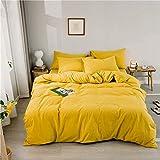 King Size Bed Set de edredón, Lavada algodón Puro de Cama de algodón de Cuatro Piezas Cama Simple Bordado Cuatro Estaciones Disponible (Color : Gentry Yellow, Size : 6.6ft Bed)