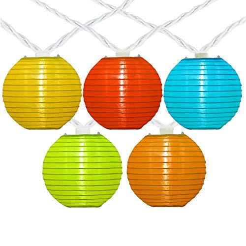 8.5Ft Multicolor Lantern Christmas String Lights,10 Mini Oriental Style Colorful Nylon Lanterns Hanging Lights Plug in Indoor Outdoor String Lights for Patio, Bedroom, Party Wedding Bedroom Bistro Bar