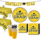 Party City Yellow Congrats Grad 2021 Graduation Party Supplies for 36 Guests with Banner, Tableware and Decorations