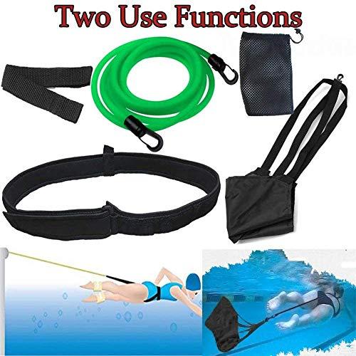 ZHANGLE Swim Tether cinturón de natación Fijo, con paracaídas de natación, cinturón de Resistencia de Entrenamiento de natación Fijo, Cuerda de natación Fija y cinturón de Entrenamiento Verde