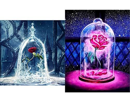 2 teilige DIY 5D Diamant Malerei Kunst kompletter Bohrersatz, voller Diamant Schönheit und Tier Rose 5D Diamant Kunst, Diamant Malerei Set Art Deco