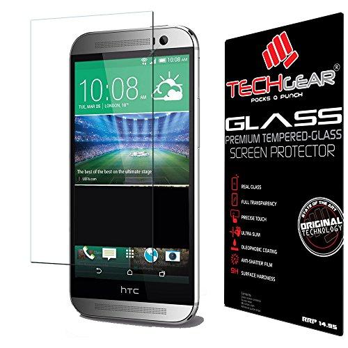 TECHGEAR Panzerglas für HTC One M8 & M8s - Panzerglasfolie Anti-Kratzer Schutzabdeckung kompatibel mit HTC One M8 & M8s
