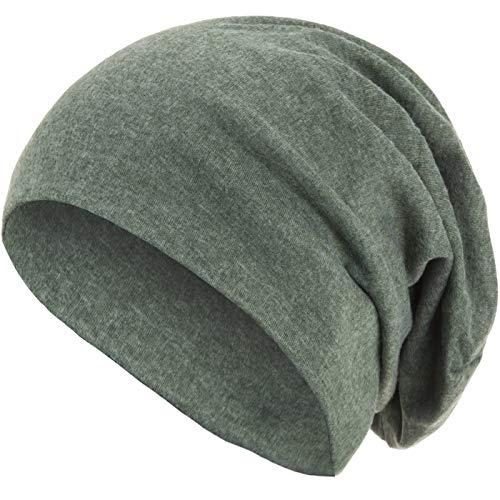 style3 Warme Herbst Winter Slouch Beanie XXL aus atmungsaktivem, feinem und leichten Jersey Unisex Mütze Wintermütze One Size, Farbe:Grün