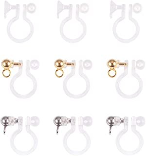 PH PandaHall 15 Pairs 3 Styles Clear Plastic Clip-on Earring Converter Component with Platinum Golden Rhinestone for Non-Pierced Ears DIY Earring Making Accessary