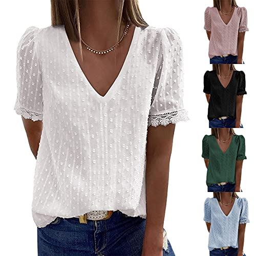 Women Summer Tops, Short Sleeve Sexy V Neck Lace T-Shirts Ladies Trendy Solid Color Casual Loose Fit Blouses Pullover