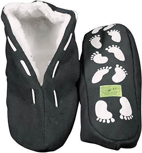 Echtleder / Veloursleder Hausschuhe mit Fell Innenfutter Mokassins Pantoffeln ABS-Stopper ab Gr: 35 (sch44) 47 schwarz