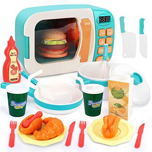 BeebeeRun Microondas de Juguete,Juguete de Cocina Set,Microondas para Cocina de Juguete para Niños,Juguetes de Cocina Alimentos Juguete Set con luz y Sonido para Niñas