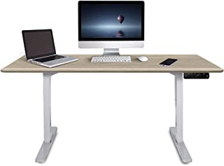 Fortia 160cm Wide Motorised Height Adjustable Ergonomic Standing Desk for Office or Home, White Oak with White Frame