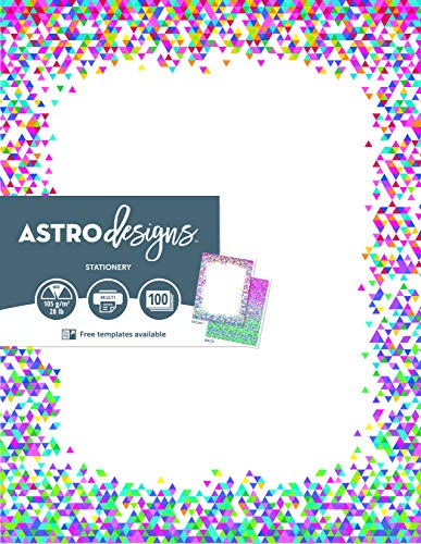 """Astrodesigns 2-Sided Preprinted Stationery, 8.5"""" x 11"""", Confetti, 100 Sheets (91278)"""