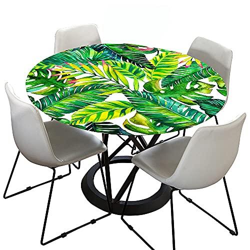 Mantel Antimanchas Redondo, Chickwin Estampado de Plantas Tropicales Mantel de Mesa Impermeable Diseño de Borde Elástico, Mantel Redondo para Comedor, Cocina y Picnic (Hoja Verde,150cm)