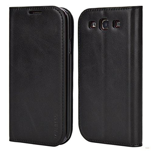 Mulbess Flip Slim Handyhülle für Samsung Galaxy S3 Hülle Leder, Samsung Galaxy S3 Neo Hülle, Samsung S3 Klapphülle, Samsung S3 Schutzhülle, Handytasche für Samsung Galaxy S3 Tasche, Schwarz
