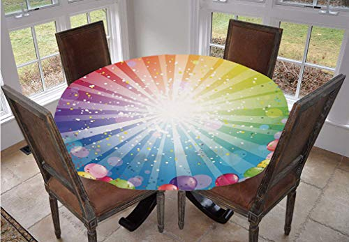Angel Bags Birthday Round Tablecloth,Festive Striped Backdrop with Balloons Dots Confetti Rain Celebration Polyester Table Cover,48 Inch,for Kitchen Dinning Tabletop Decoration Multicolor