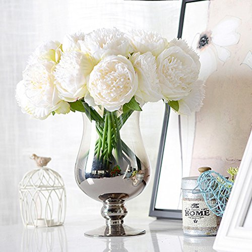Comaie - Ramo de peonías artificiales, tacto parecido a la seda, decoración para centro de mesa o jarrones, 5 cabezas de flores, blanco