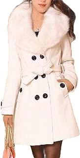 Womens Faux Fur Lapel Long Sleeve Lapel Outwear Trench Coat Top