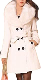 Womens Fashion Double-Breasted Faux Fur Lapel Thick Wool Tops Trench Coat