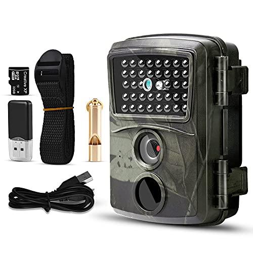 Apark Wildkamera, 1080P 12MP Jagdkamera mit Infrarot Nachtsicht Bewegungsmelder, HD Wildlife Camera mit SD-Karte IP54 Wasserdichter Überwachungskamera für Wildtierüberwachung Jagd Hausüberwachung