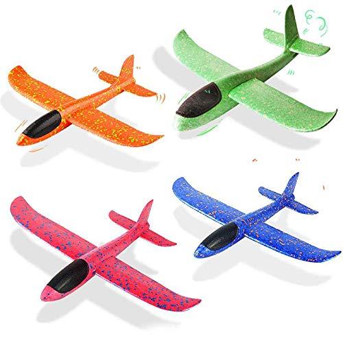 VCOSTORE - Avión Planeador de Espuma para lanzar, Modo de Vuelo Mejorado, EEP, avión de inercia Manual, avión Duradero para niños, Juguetes Deportivos al Aire Libre o Regalo, 4 Piezas