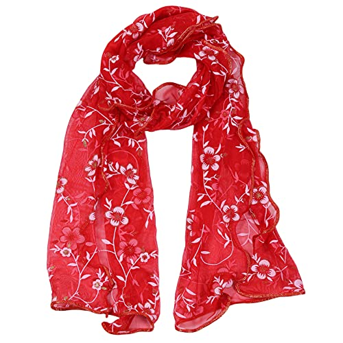 LZDBF Printed Silk Shawl with Lace Multi-color Long Stylish Simple Scarf for Women Girls Daily Occasions Wear,Red