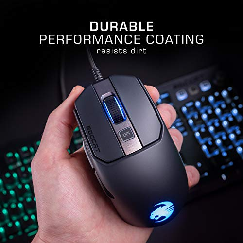 Roccat Kain AIMO RGB Gaming Mouse (16,000 Dpi Owl-Eye Sensor, 89G Lightweight, Titan Click Technology), Black