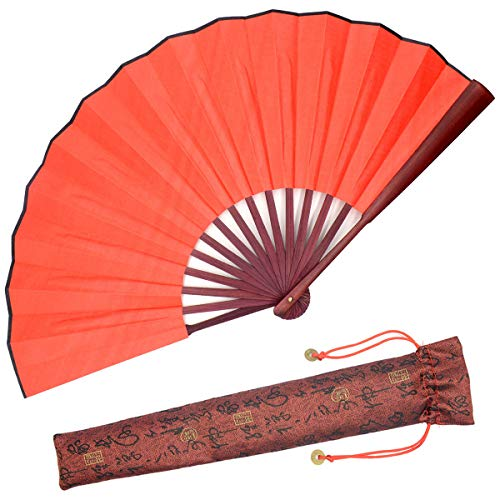 OMyTea Folding Hand Held Fan for Men/Women Simplicity Chinese Japanese Oriental Asian Style - for Wedding, Dancing, Church, Party, Gifts (Red)