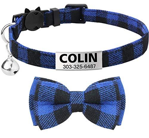 TagME Collar de Gato Personalizado, con Placa de Identificación Personalizable y Hebilla de Liberación Rápida Corbata de Moño Collar de Gato, 1 Paquete Azul